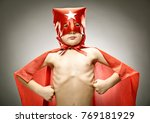 young boy superhero fly with... | Shutterstock . vector #769181929