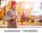 young beautiful caucasian woman ... | Shutterstock . vector #769182001