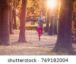 young beautiful caucasian woman ... | Shutterstock . vector #769182004
