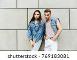 man and woman dressed in casual ...   Shutterstock . vector #769183081