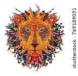 kaleidoscopic lion in orange... | Shutterstock .eps vector #769189051
