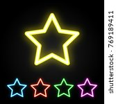 colorful neon star. glowing... | Shutterstock .eps vector #769189411