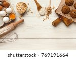 cooking ingredients for oatmeal ... | Shutterstock . vector #769191664