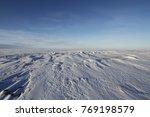Arctic landscape with snow on the ground near Arviat, Nunavut