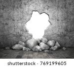 destroyed wall of concrete... | Shutterstock . vector #769199605