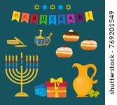 jewish holiday of hanukkah ...   Shutterstock .eps vector #769201549
