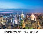 night aerial view of midtown... | Shutterstock . vector #769204855