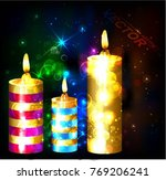 color christmas candles  | Shutterstock .eps vector #769206241