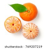 whole mandarine with leaf and... | Shutterstock . vector #769207219