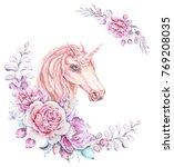 watercolor cute unicorn. floral ... | Shutterstock . vector #769208035