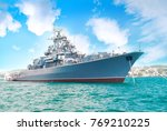 military navy ship in the bay... | Shutterstock . vector #769210225
