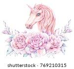 watercolor cute unicorn. floral ... | Shutterstock . vector #769210315