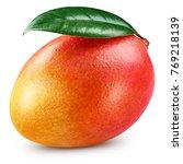 Mango Leaf Isolated On White...