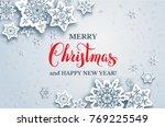 elegant paper cut snowflakes.... | Shutterstock .eps vector #769225549