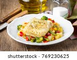 white fish fillet with... | Shutterstock . vector #769230625