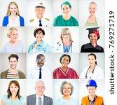 portraits of multiethnic mixed... | Shutterstock . vector #769271719