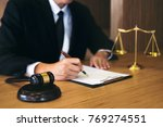 judge gavel with justice... | Shutterstock . vector #769274551
