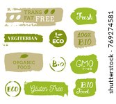 healthy food icons  labels.... | Shutterstock .eps vector #769274581