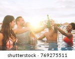 happy friends making a party...   Shutterstock . vector #769275511