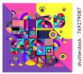 trendy curvy geometric memphis... | Shutterstock .eps vector #769279087