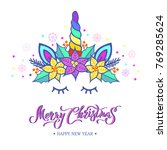 merry christmas card with hand... | Shutterstock .eps vector #769285624