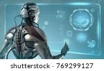 futuristic robot working in... | Shutterstock . vector #769299127