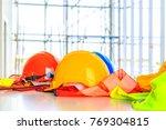 orange  yellow and blue hard...   Shutterstock . vector #769304815