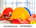 orange  yellow and blue hard...   Shutterstock . vector #769304821