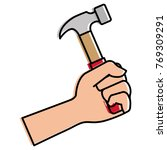 hand with hammer tool isolated...   Shutterstock .eps vector #769309291