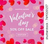 valentine day sale design... | Shutterstock .eps vector #769320157