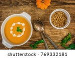 pumpkin and carrot soup with... | Shutterstock . vector #769332181