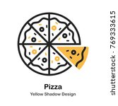 pizza lineal vector illustration | Shutterstock .eps vector #769333615