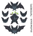 bat in various poses. flying ... | Shutterstock .eps vector #769338391
