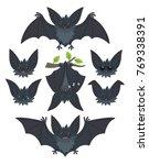 bat in various poses. flying ... | Shutterstock .eps vector #769338391