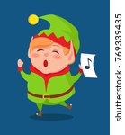 cute elf singing carol songs ... | Shutterstock .eps vector #769339435