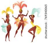set of brazilian samba dancers... | Shutterstock . vector #769340065