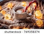 christmas background coffee in...   Shutterstock . vector #769358374
