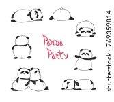 set of funny cute pandas. | Shutterstock .eps vector #769359814