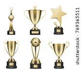 set of trophy with golden stars ... | Shutterstock .eps vector #769365511