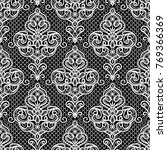 black and white lace ornament ... | Shutterstock .eps vector #769366369