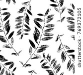 black and white abstract leaves ... | Shutterstock .eps vector #769372105