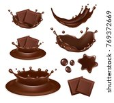 set of chocolate form icons... | Shutterstock . vector #769372669