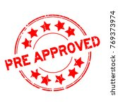 grunge red pre approved with...   Shutterstock .eps vector #769373974