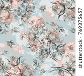 seamless pattern of vintage... | Shutterstock . vector #769375657