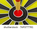 close up red dart arrow on... | Shutterstock . vector #769377781