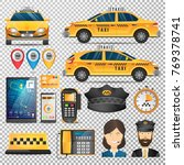 big set of taxi service concept ... | Shutterstock .eps vector #769378741
