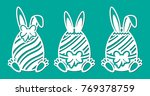 set of happy easter eggs with... | Shutterstock .eps vector #769378759