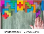 Stock photo concept of decision making process logical thinking find the missing piece of the proposed hand 769382341