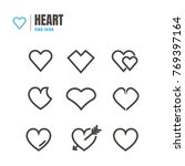 Abstract Hearth Icons Set. On...