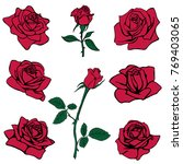 silhouettes of roses isolated... | Shutterstock .eps vector #769403065